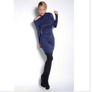Bebe asymmetric side rusher slinky sexy dress sz S
